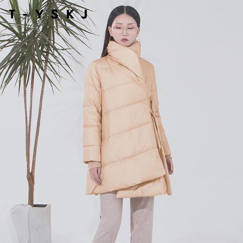 TYSKJ Đài Loan Thêu mùa đông 2019 Mới Hot White White Down Down Jacket Kích thước lớn Loose Áo khoác ấm cho nữ - Xuống áo khoác