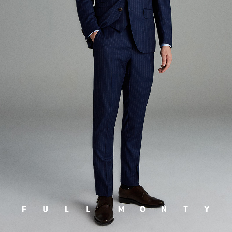 bb903a244e1 FULL MONTY pencil pattern navy blue wool business men s trousers slim flannel  dress suit pants · Zoom · lightbox moreview · lightbox moreview · lightbox  ...