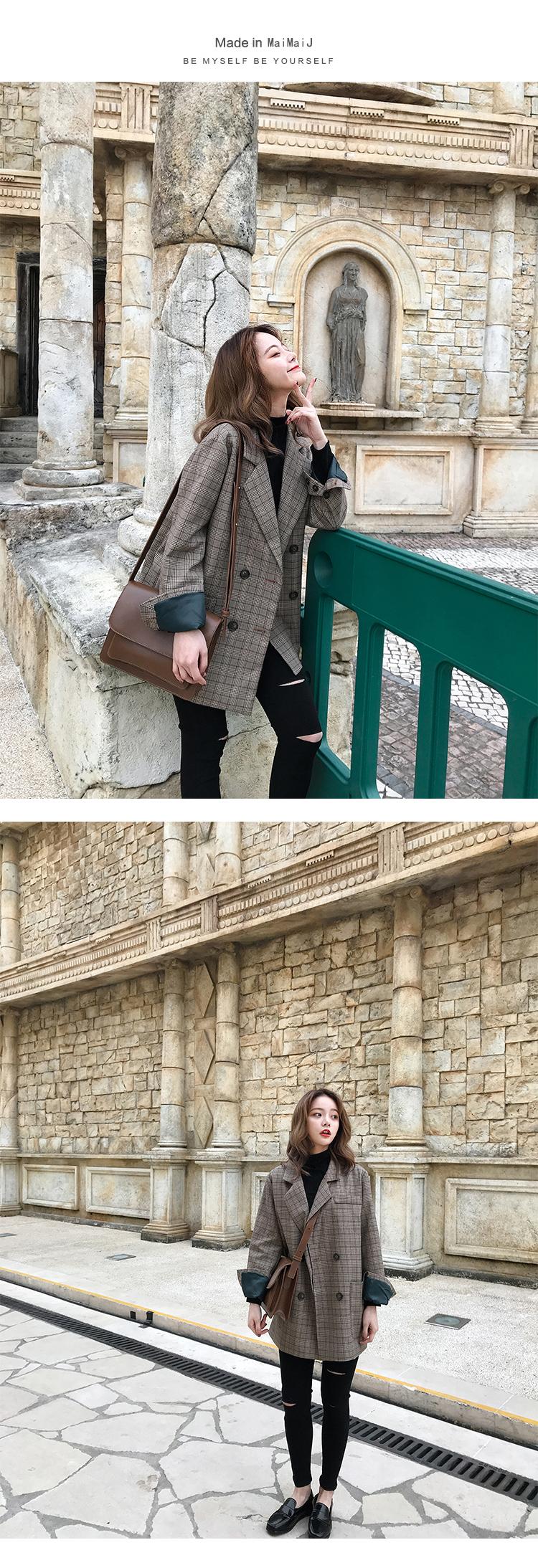 Kẻ sọc phù hợp với áo khoác nữ Hàn Quốc người Anh gió retro cô gái 2018 new casual loose kẻ sọc nhỏ phù hợp với mùa thu