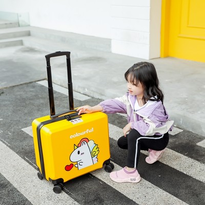 Big Distance Children's trolley box male cute cartoon bag female 20 inch can take a travel box 10,000-way round 19 inch 24
