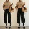 Wool wide leg pants female autumn and winter 2017 new high waist it straight Korean students loose thick pants