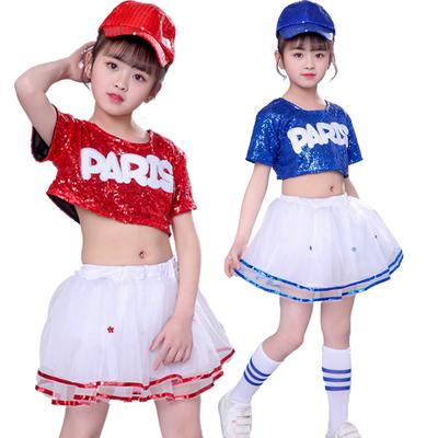 Girls Jazz Dance Costumes Performing Dresses Jazz Kindergarten Sequins Dance Dresses Modern Dance Performing Dresses Pengpeng Skirt