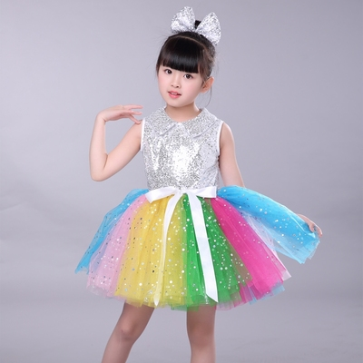 Girls Jazz Dance Costumes Performing Dresses Princess Dresses Chorus Kindergarten Sequins Performing Dresses