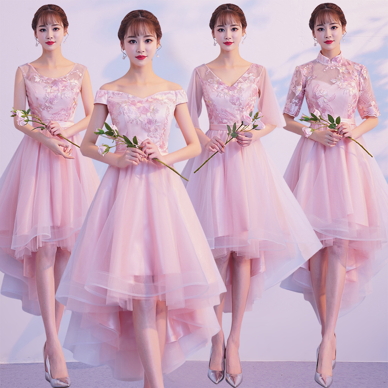 009e8d3f9f36 Pink bridesmaid dress female 2019 summer new fairy quality bridesmaid  sisters skirt birthday graduation small dress