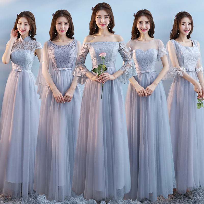 e808b1afc180 Bridesmaid dress female 2019 new Korean version of the gray long wedding  girlfriends Group dress was thin bridesmaid dress sisters skirt