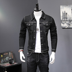 2019 spring and autumn black denim suit male handsome all-match trend two-piece youth jacket jeans one set