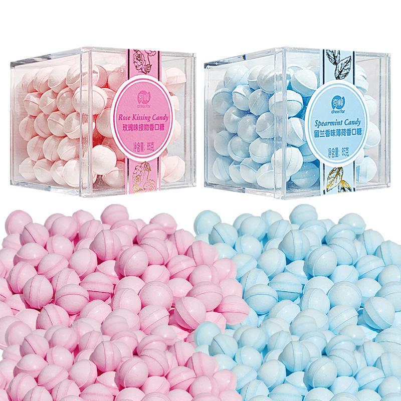 奇峰玫瑰味持久接吻糖果少女约会口气清新香体网红薄荷糖85g盒装