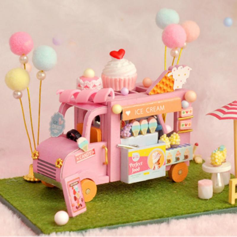 天予diy小屋迷你蓝色旋律手工拼装小房子模型玩具生日礼物女生