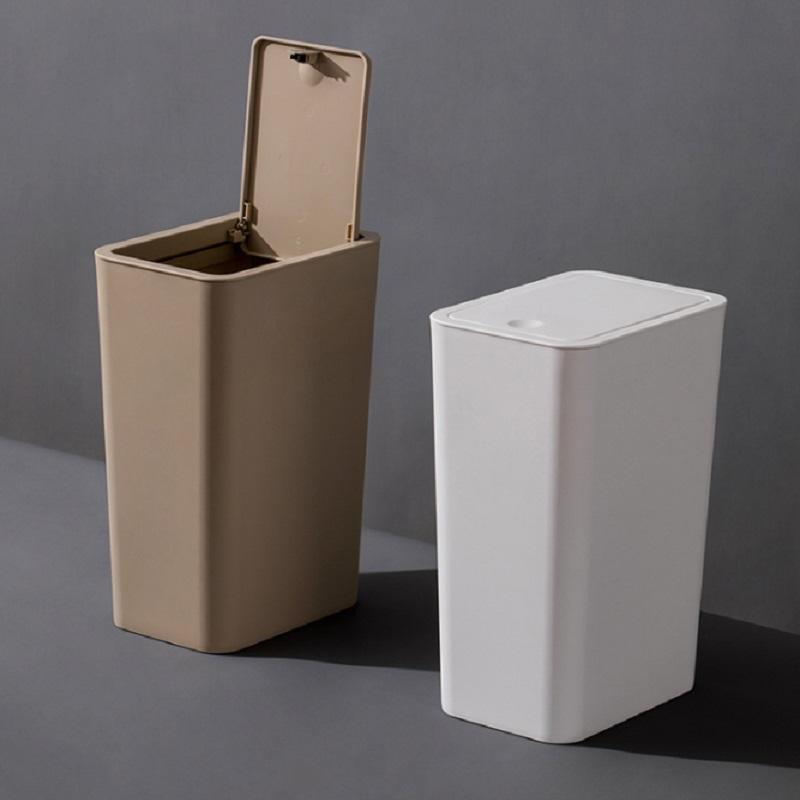 【茶花】创意按压弹盖式垃圾桶