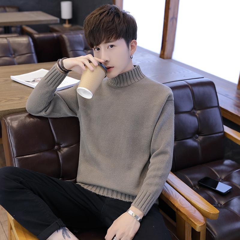 秋冬季半青年加绒加厚款毛衣男学生高领潮流a青年衣中领男款针织衫