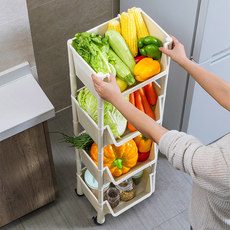 Kitchen vegetable storage rack plastic rack floor multi-layer fruit and vegetable shelf household mobile collection trolley