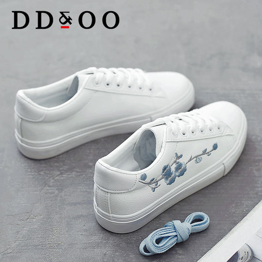 Ddoo embroidery spring white shoes female 2018 new wild Korean women's shoes student shoes flat fashion white shoes