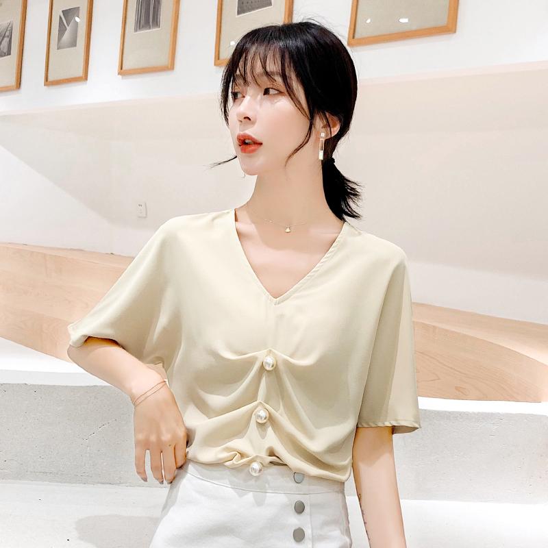 女装钉珠很仙的短袖洋气蝙蝠衫2019新款夏季气质时尚潮流雪纺上衣
