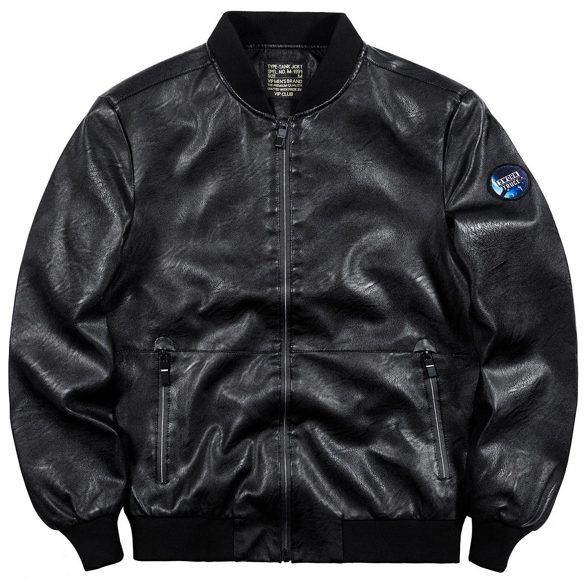 VIP mùa thu xe máy da nam phi công áo khoác nam Hàn Quốc đẹp trai đồng phục bóng chày kích thước lớn áo khoác lỏng - Đồng phục bóng chày