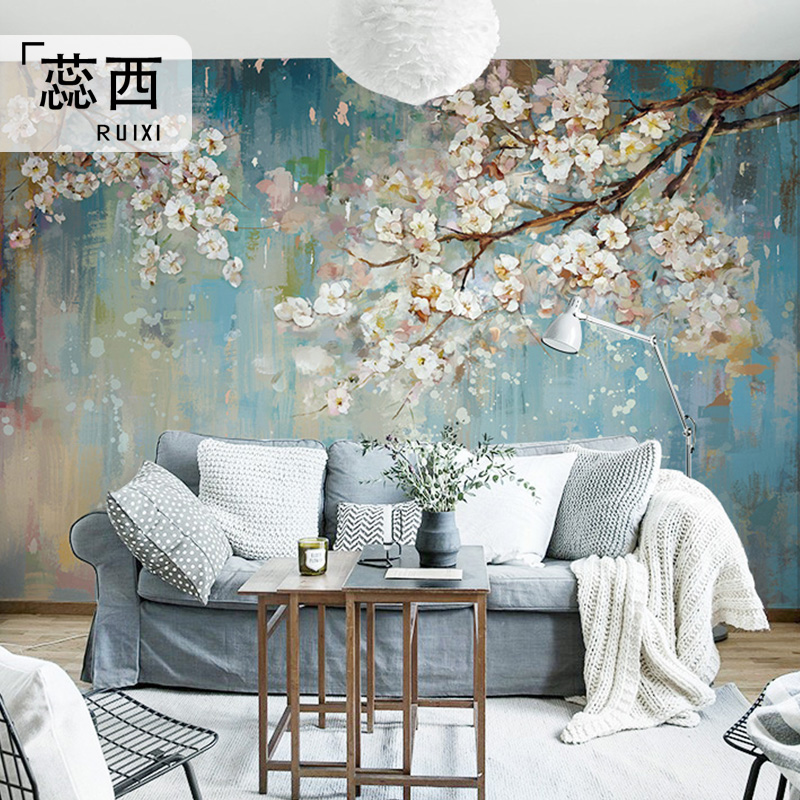 Light Luxury Living Room Tv Background Wallpaper European Wallpaper Floral Personality Wall Cloth Mural Film And Television Large Wall Cloth