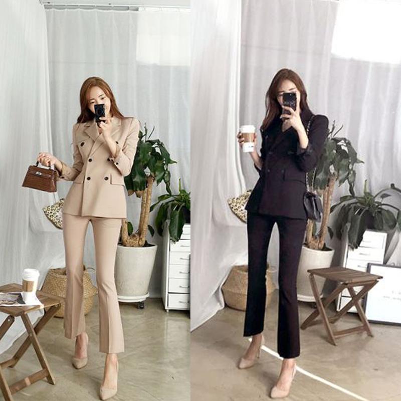 欧洲站2020外套新款春装修身小西装时尚女装气质休闲裤职业套装潮