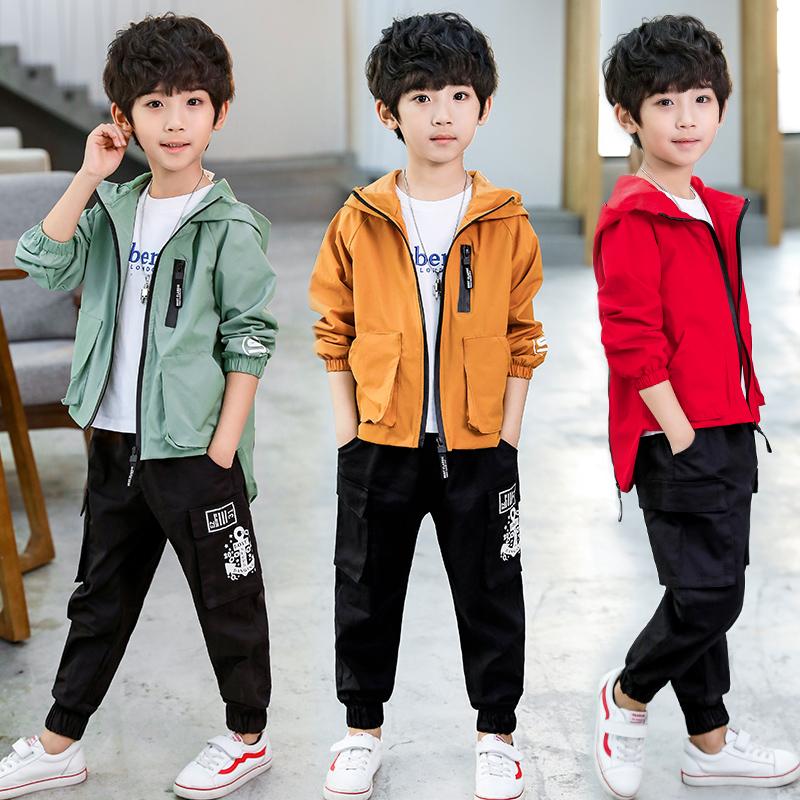 童装男童秋装套装2018新款韩版儿童春秋洋气大童运动男孩帅气潮衣