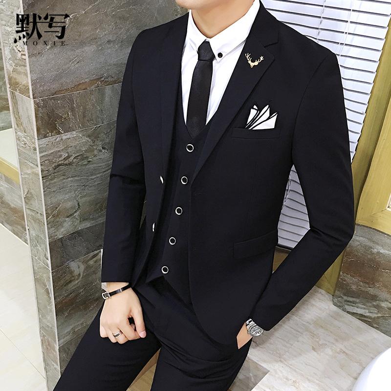 默写春季西装套装男士韩版修身西服套装三件套新郎礼服职业装正装