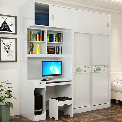 Sliding Door Wardrobe Integrated Desktop Computer Desk Combination Bookcase Desk Desk Children Sliding Door Wardrobe Cabinet Siamese