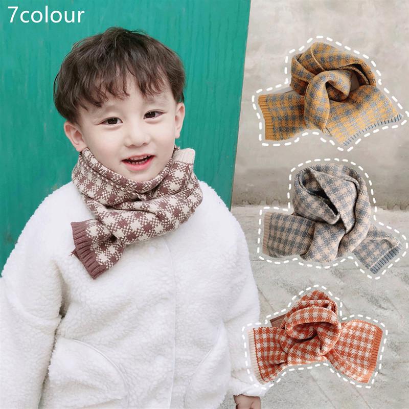 格子围巾韩版宝宝围脖冬季a格子宝宝女童男儿童仿羊绒防风婴儿围巾