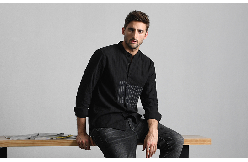 Han-Flo striped stitched long-sleeved shirt men's business casual shirt youth trend slim collar men's top 45 Online shopping Bangladesh
