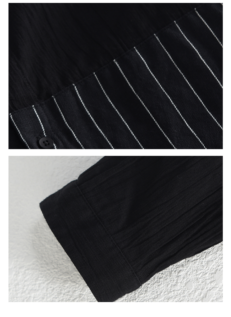 Han-Flo striped stitched long-sleeved shirt men's business casual shirt youth trend slim collar men's top 56 Online shopping Bangladesh