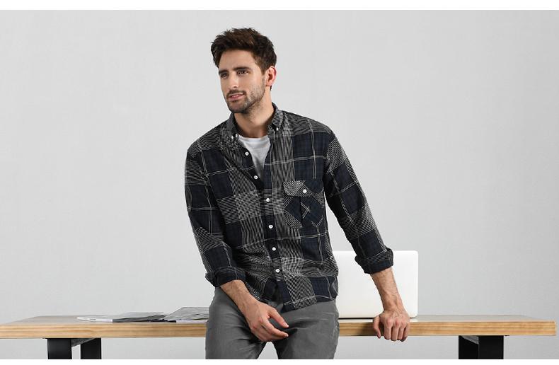 Han Floyd cotton soft long-sleeved shirt men's spring and autumn color woven lattice bottom shirt youth striped raccoon top 47 Online shopping Bangladesh