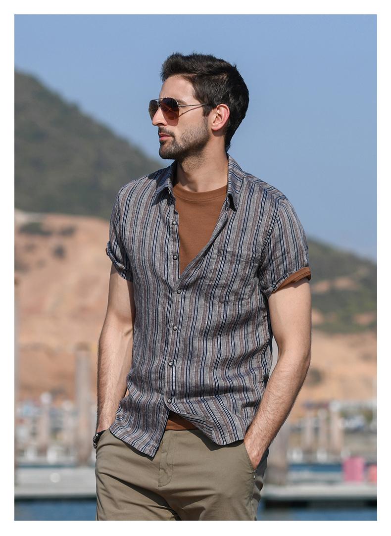 Han-Flo Scottish-woven striped linen short-sleeved shirt men's slightly loose literary retro linen shirt men's thin 46 Online shopping Bangladesh