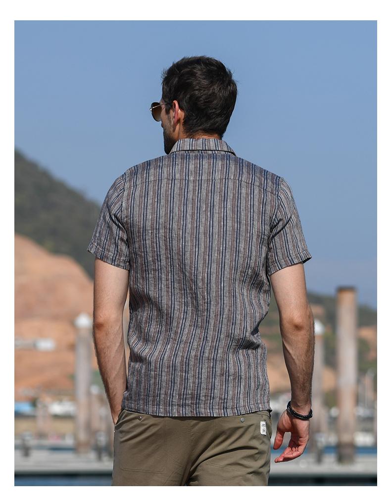 Han-Flo Scottish-woven striped linen short-sleeved shirt men's slightly loose literary retro linen shirt men's thin 47 Online shopping Bangladesh