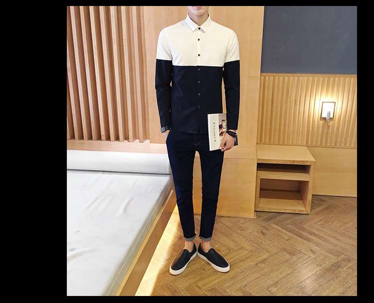 2017 Men's Fashion Shirt British Fashion Color Patchwork Slim Square Collar Men Long-Sleeved Fit Shirt Single-Breasted Shirt 4XL 10