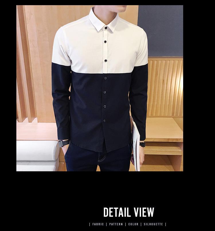 2017 Men's Fashion Shirt British Fashion Color Patchwork Slim Square Collar Men Long-Sleeved Fit Shirt Single-Breasted Shirt 4XL 7