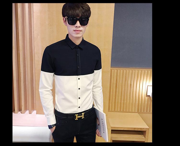 2017 Men's Fashion Shirt British Fashion Color Patchwork Slim Square Collar Men Long-Sleeved Fit Shirt Single-Breasted Shirt 4XL 20