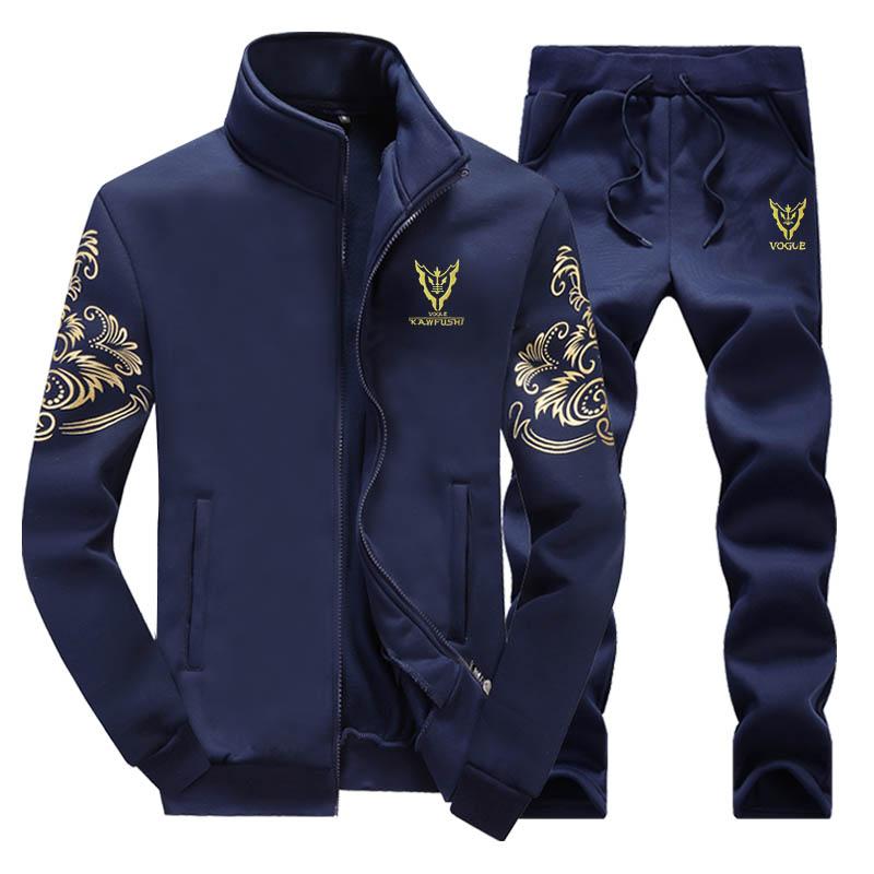 运动套装男士2018春秋季新款秋装青少年休闲加绒卫衣男衣服外套男