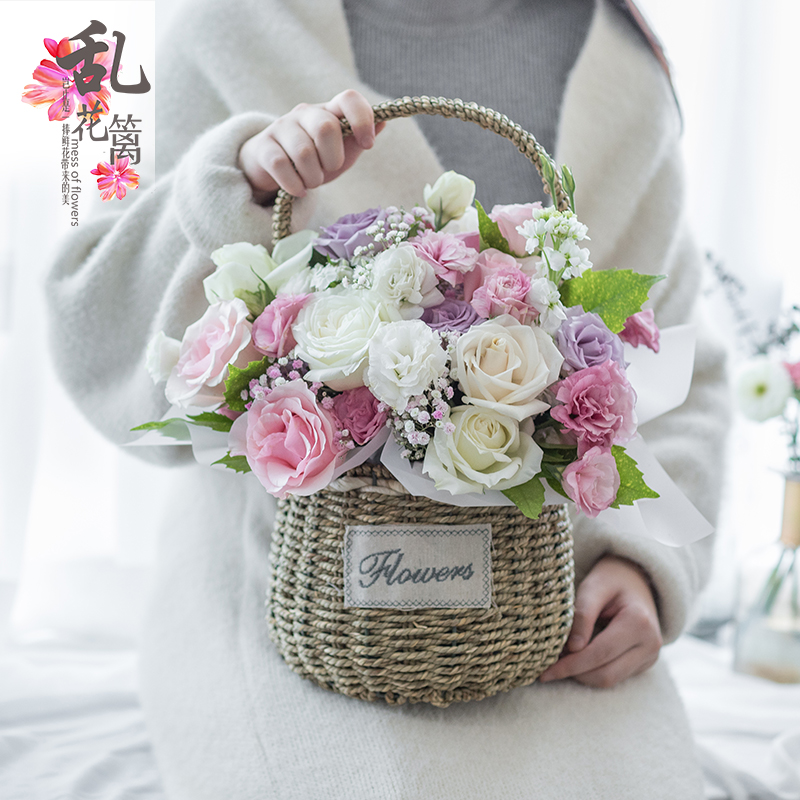 Chengdu City Flower Delivery Basket To Send Girlfriend Gift Box Bouquet Rose Birthday Flowers Shop