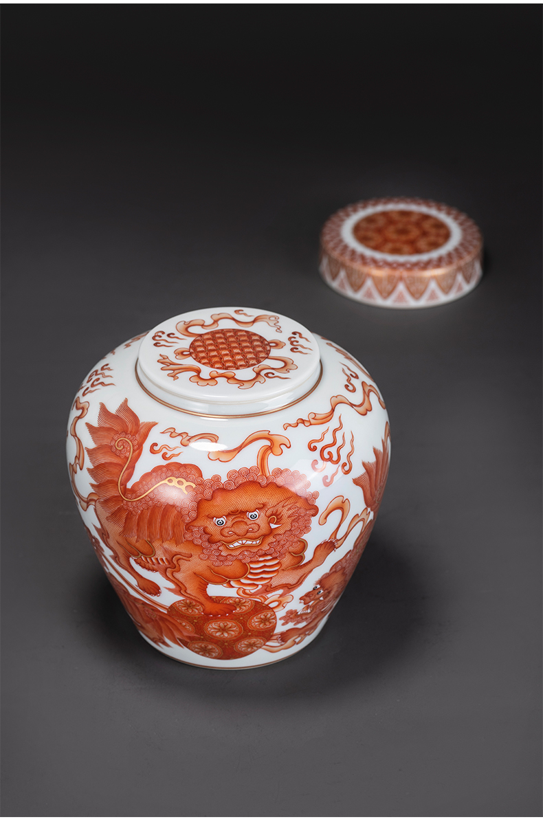Kung fu alum red see lions on the porcelain ball trumpet tea collection storehouse ceramics handicraft tea caddy fixings orphan works