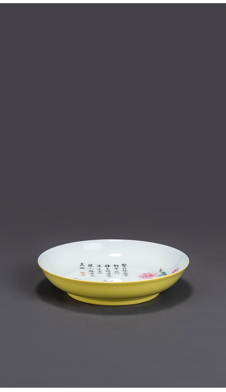 Checking porcelain on kung fu will hand pot peony kung fu tea accessories jingdezhen ceramic tray was high - end tea tray