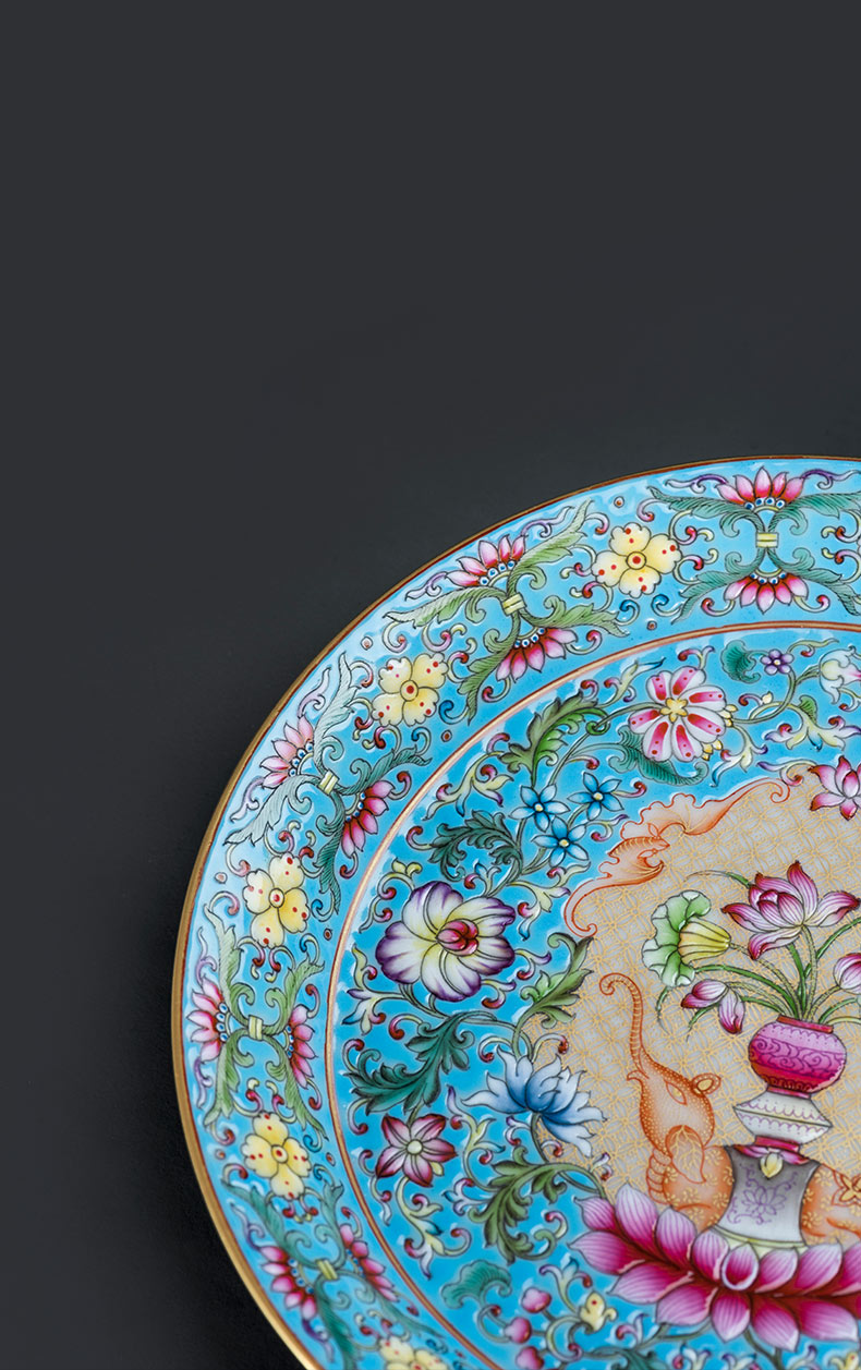 Jingdezhen porcelain on kung fu tea tray manually hand - made colored enamel peace is like a pot of bearing saucer Chinese style tea tray