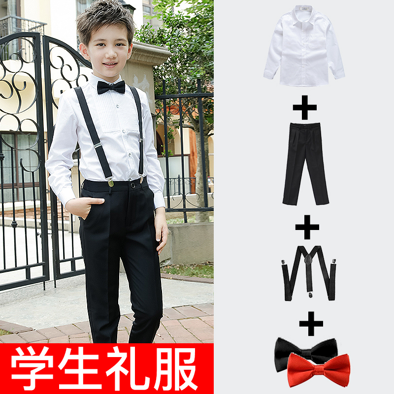Boys' autumn shirt white children's black shirt long-sleeved dress set in the big children's college wind top