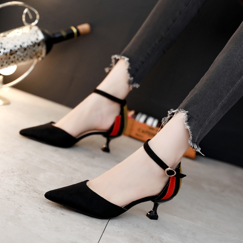 dd33e74ae Fight color sexy pointed high heels female hollow single shoes fine with  cats with 2019 new wild spring and autumn black girl