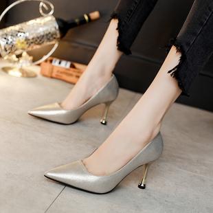 女细跟黑色工作鞋尖头浅口女鞋细跟高跟鞋