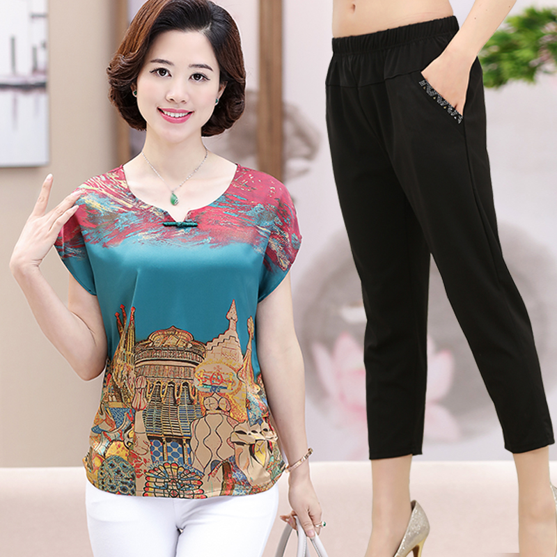 473ed19fe05 Middle-aged women s short-sleeved t-shirt 50-60 years old fat mother ...