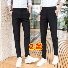 Slim pants male Korean version of the trend of black men's casual pants nine points trousers spring and summer pants feet trousers male