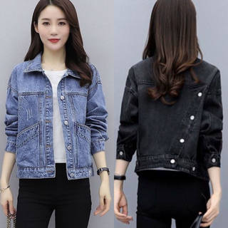 Black denim jacket female short bf2021 early spring new spring and autumn loose jacket Korean version was thin tide ins
