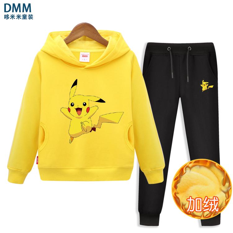 Áo len kết hợp Pikachu mùa thu đông cộng với quần áo nhung bé trai và quần áo trẻ em nữ 2019 kiểu mới lạ - Phù hợp với trẻ em