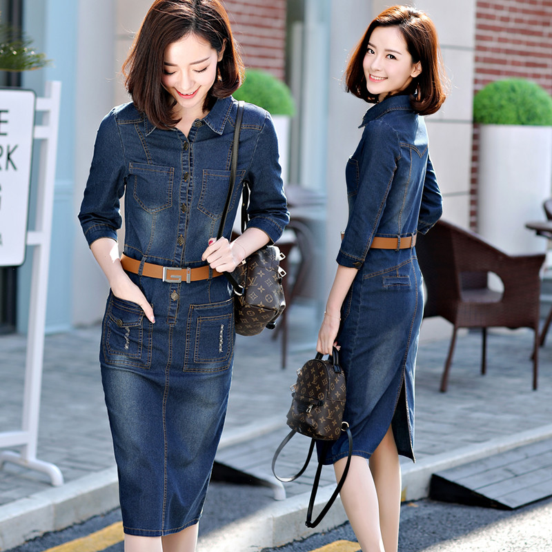 31b18f00f153a 2019 spring and summer new denim dress dress female Korean version of the  long section of the Slim was thin denim skirt