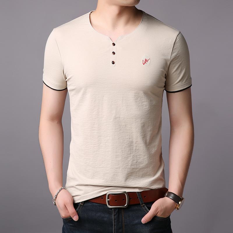 西梵尼夏季新款男士圆领短袖t恤棉韩版潮流休闲体恤半袖冰丝光棉