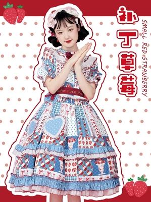 taobao agent Southern Cross Original【Patch strawberry】Lolita summer print dress OP deposit available flowers chant