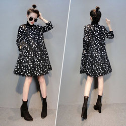 European station autumn women's 2020 new European goods trendy Hong Kong style is thin and age-reducing high-neck polka dot a-line dress