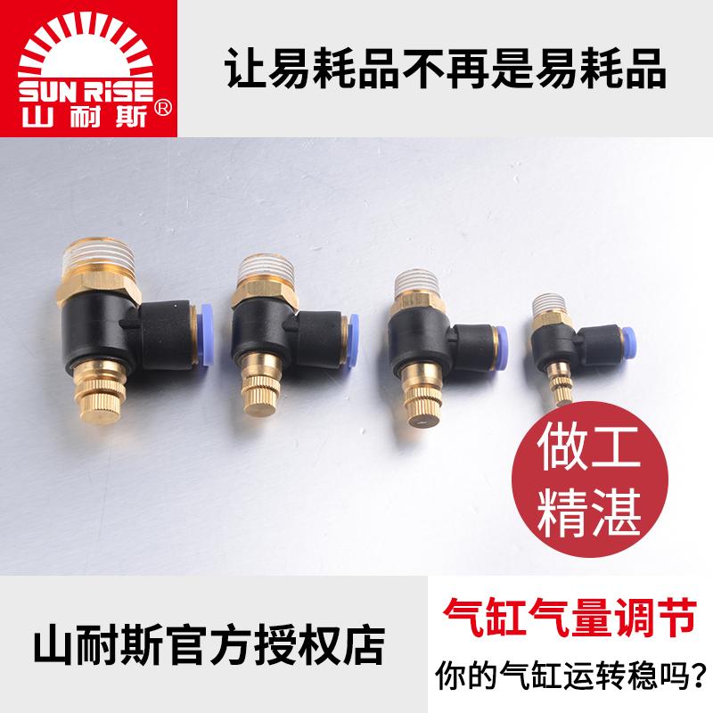 山耐斯气缸调速阀手动可调单向管道节流阀气压调节气动气管快接头