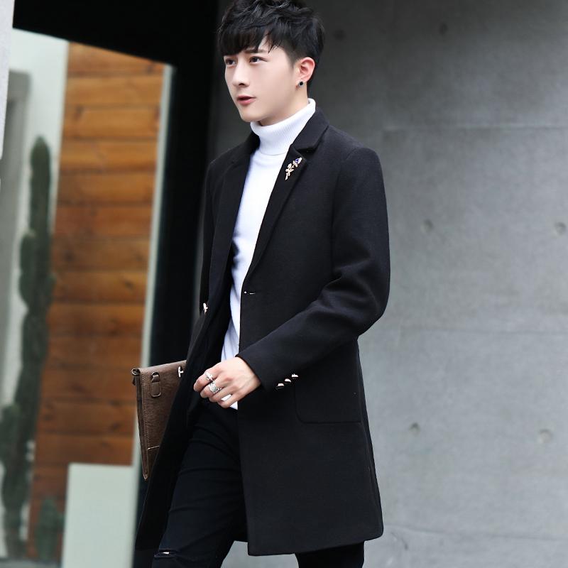 男士中长款风衣2017新款秋冬季韩版帅气呢子大衣修身毛呢加厚外套